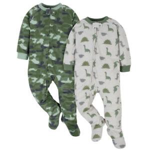 Gerber Baby Boys' 2-Pack Blanket Sleeper, Green Camo & Dino