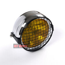 """Motorcycle 6.5"""" Headlight Classic Grill Mesh Cover Silver Chrome Yellow Glass"""