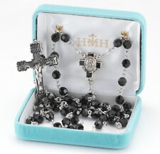 Sterling Silver Rosary made with Jet Black Swarovski Crystals