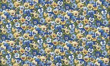 Fat Quarter Blue Pansies Flowers Summer Garden Cotton Quilting Fabric Makower