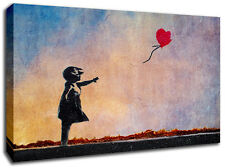 Bansky Balloon Girl ARCOBALENO Tela Arte Immagine Enorme A1 TAGLIA 32 x 22 NUOVO