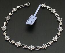 2.7CT Diamonique CZ Floral Bracelet 14K White Gold 7.5g
