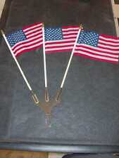 MODEL A FLAG HOLDER W/ 3 U.S. FLAGS LICENSE PLATE TOPPER METAL