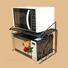 2 Tier Black Metal Multifunctional Microwave Oven Rack Household Kitchen Shelf