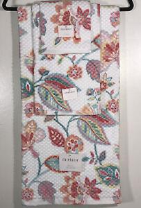 Storehouse Bathroom Towel Washcloth Set 3 Pieces Vibrant Floral Design Cotton