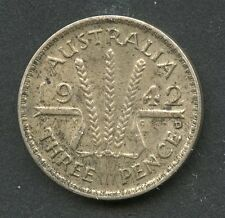 AUSTRALIA 1942 THREE PENCE  SILVER COIN AS SHOWN