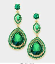 "2.25"" Green Emerald Gold Long Austrian Crystal Pageant Bridal Dangle Earrings"
