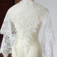 1Yard Sequin Eyelash White Lace Trim Lace Fabric Wedding Dress DIY Sewing Edging