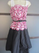 Ladies Dress Sz 8 Pink Black White Belt Garden Party Wedding Cocktail Summer