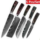 Kitchen Knife Set Damascus Style StainlessSteel Chef Knife+Knife Block+Sharpener