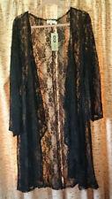 C.O.C. long black lace swing cardigan, Plus size 3X