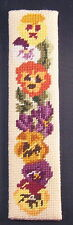 Finished Needlepoint Pansy Bookmark