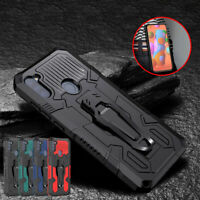 For Samsung A01 A11 Case Cover Armor Stand With Belt Clip+Glass Screen Protector