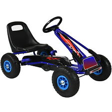 Pedal Go Kart Kids Childrens Ride On Car Racing Toy Rubber Tyres Wheels in Blue