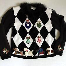 Jack B Quick Christmas Sweater Embellished Dogs Large L Jingle Bells Poodle