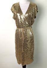 MICHAEL MICHAEL KORS Gold Sequin Wrap Dress Sleeveless Ties Womens Large $150