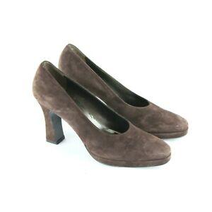 Vintage 90s Salvatore Ferragamo Brown Suede Platform Chunky Heel Shoes 9 AA Pump