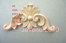 6*6*0.5cm Wood Carved Corner Onlay Applique Decoration Unpainted A8 QTY.4