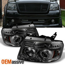 2004-2008 Ford F150 Smoked Dual Halo LED Projector Headlights Left/Right Lamps