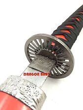 "40"" Red Samurai Katana Sword Scabbard 440 Stainless Steel Blade Bushido Kanji"