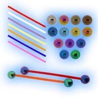 Bioflex Barbell Grade 23 Titanium Balls Tongue Bar 1.6mm 14g Nipple Piercing