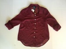 Women's About A Girl Bordeaux Sheer Roll Tab Flared Long Sleeve Blouse Small NWT
