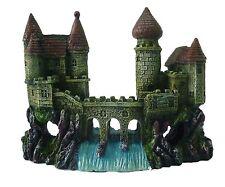 Castle with Bridge & Waterfall Aquarium Fish Cave Ornament Fish Tank Decoration