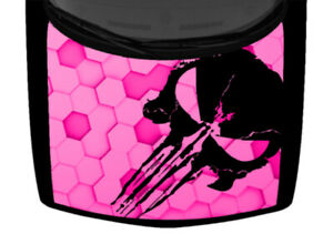 Punisher Hexagonal 3D Graphic Hot Pink Truck Hood Wrap Vinyl Car Graphic Decal