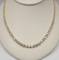 """Graduated Round Diamond Tennis 16"""" Necklace, 22.0 Ct TW in 18kt Yellow Gold Over"""