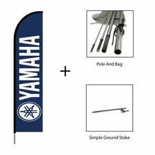 Yamaha Feather Flag Swooper Banner Pole Kit Outdoor Advertising Sign 15ft - Blue