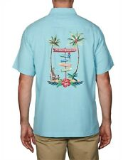TOMMY BAHAMA Mens Blue Shirt Size XL LIVE THE ISLAND LIFE 100% Silk RRP$215 NWT