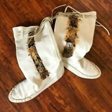 Vintage 80s White Boho Slouchy Flat Boots Leather 8B Women Hippie Feathers