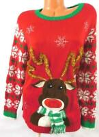Holiday Time red green reindeer snowflakes embroidered ugly christmas sweater 1X