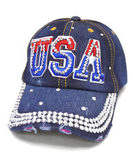 Baseball Cap USA Bling Red White Blue Adjustable Silver Mirror Stones Worn Torn
