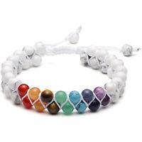 7 Chakra Healing Balance Prayer Beaded Bracelet Lava Yoga Reiki Stones Jewelry