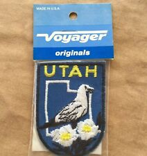 Vintage Utah Bird Flower Fabric Patch 80s Sewing Embellishment Americana Patches