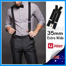 35mm Wide Mens Womens Black Suspenders Braces Adjustable Formal Wedding Party