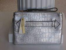 AIMEE KESTENBERG Silver Croco Genuine Leather Melville Pouch Clutch NWT $78