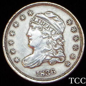 1836 CAPPED BUST HALF DIME ~ STUNNING AND SCARCE H10c COIN ~ FREE SHIPPING ~ TCC