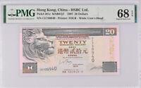 Hong Kong 20 Dollars 1997 HSBC P 201 Superb Gem UNC PMG 68 EPQ