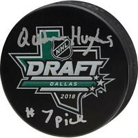 Quinn Hughes Vancouver Canucks Signed 2018 NHL Draft Logo Puck & #7 Pick Insc