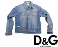 DOLCE & GABBANA Womens Jeans Jackets 1970s Denim Jacket Ladies Ripped Distressed