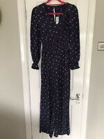 M&S Collection Ladies Jumpsuit Uk Size 6 Navy Blue Floral Print Long Sleeve BNWT