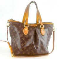 LOUIS VUITTON PALERMO PM Tote Bag Shoulder Purse Monogram M40145 Brown