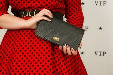 90s vintage quilted faux leather clutch bag shoulder bag by Ande