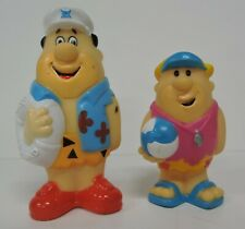 1990 FLINTSTONES FRED LIFEGUARD & BARNEY W/VOLLEYBALL RUBBER FIGURES/TOYS