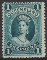 QLD Stamps - Chalon - 1886 - one pound green - used - SG161