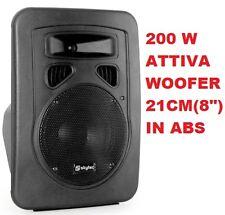 """CASSA AMPLIFICATA ATTIVA FULL-RANGE ABS 200W 8"""" 2 VIE diffusore MIGLIOR PREZZO"""