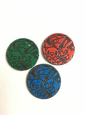 x3 Pokemon Green Red Blue Holo Snivy Tepig Oshawott Coin from Various Theme Deck