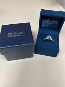Enchanted Disney Ariel Amethyst and 1/10 CT. T.W. Diamond Tiara Ring in Sterling